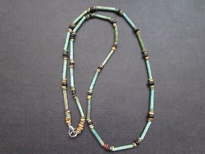 NILE  Ancient Egyptian Eye of Horus Amulet Faience Mummy Bead Necklace ca1000 BC