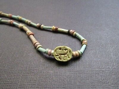 NILE  Ancient Egyptian Scarab Amulet Faience Mummy Bead Necklace ca 1000 BC