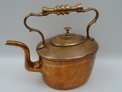Vintage Copper And Brass Handled Kettle 24 cms Tall