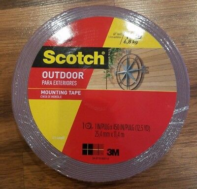 Scotch 3M Outdoor Mounting Tape, 1 Inch x 450 Inches - Strong - Free Shipping