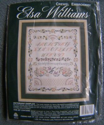 "Elsa Williams Crewel Embroidery Kit Victoriana Sampler 00415 16""x20"" New In Bag"