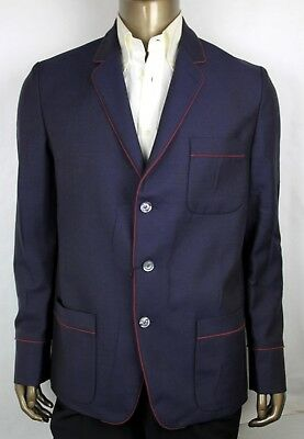 edc9039b2 New Gucci Men's Blue Wool/Mohair Jacket with Red Trim 3 Buttons 428198 4575
