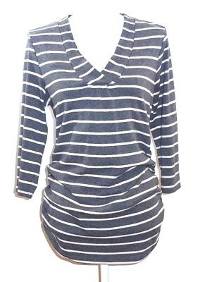 Oh Baby by Motherhood Maternity Top Gray White Striped 3/4 Sleeve V Neck Size L