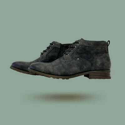 Men's Ankle Fashion Dress Casual Lace Up Mid Chukka Leather Cap Toe Zipper Boots