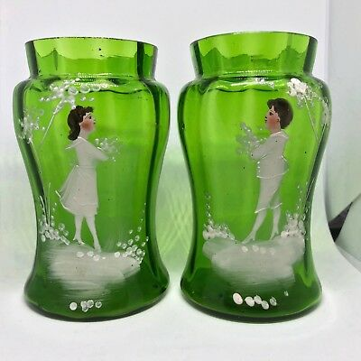 """Pair of 4.5"""" Victorian Bohemian Mary Gregory Style Green Glass Spill Vases"""