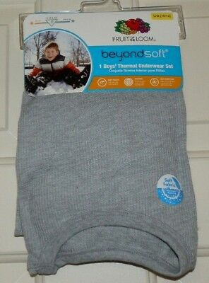 New Boys Large 10-12 Gray Thermal Underwear Set Shirt Pants Fruit of the Loom