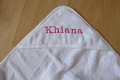 Personalised Name Date Embroidered Baby Hooded Bath Towel White Pink Blue Gift