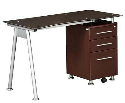 Modern Desk with Chocolate Color Tempered Glass and 2 Storage Drawers