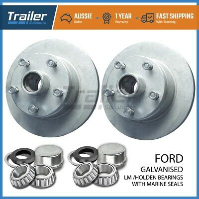 Trailer Parts Ford Trailer Disc Hubs Pair Galvanised (Lm) With Marine Seal