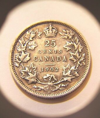 Affordable 1902 H Silver Canadian Quarter Better Date Below Wholesale Value !!