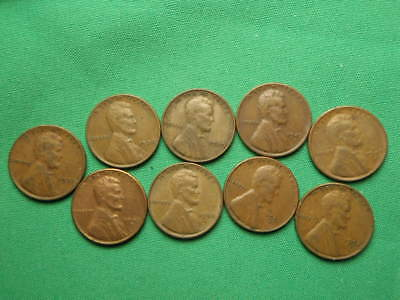 9 CIRCULATED LINCOLN WHEAT PENNY 1937 1938 1939 45s 47s 49s 50s 51s 52s Lot 1365