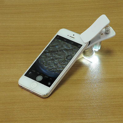 60X Optical LED Clip Zoom Mobile Phone Camera Magnifier Microscope Clip Tool ~