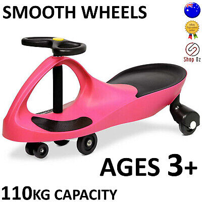 New KIDS SWING PLASMA WIGGLE CAR Swivel Slider Ride On Toy Stable Scooter Pink