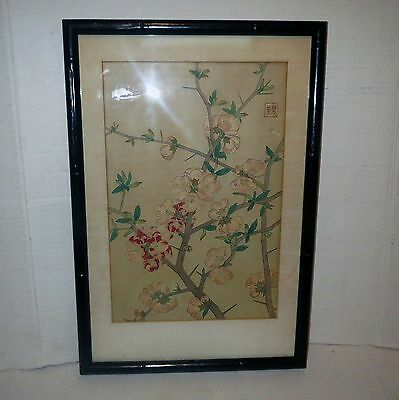 ANTIQUE JAPANESE Block Print Painting - SPRING CHERRY BLOSSOM FLOWERS