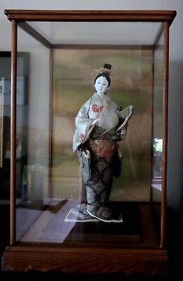 "Vintage Japanese Geisha wearing antique clothing - 16"" in original glass case"