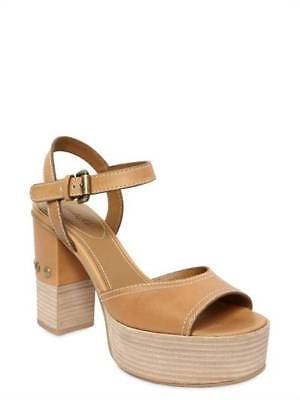 29faf46b36d SEE BY CHLOÉ Studded Taupe Leather Platform Wedge Sandals Mules ...