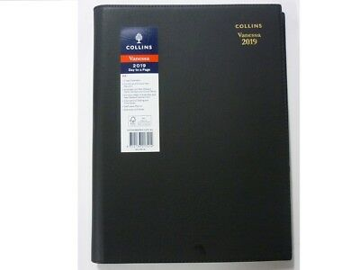 PROMO Collins diary Vanessa A4 Day to Page DTP 2019 Black soft cover spiral wire