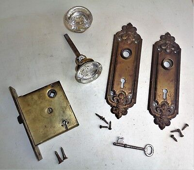 Antique Hardware Set Glass Door Knobs FLEUR DE LIS Backplate Mortise Lock w Key