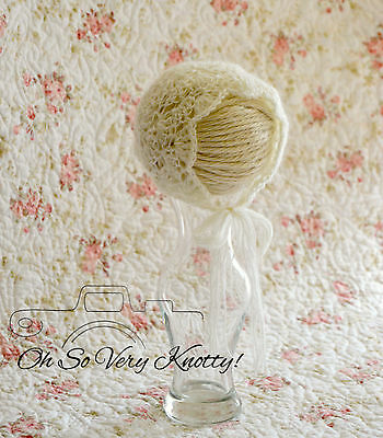 New! Handmade Crochet Delicate Newborn Baby Photo Prop Mohair Shell bonnet lace