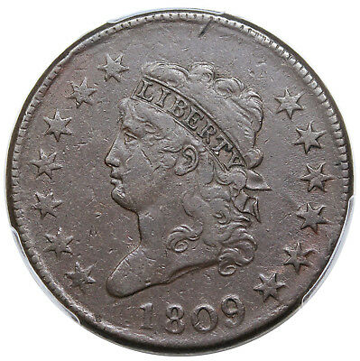 1809 Classic Head Large Cent, key date, S-280, PCGS VF25