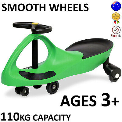 New KIDS SWING PLASMA WIGGLE CAR Swivel Slider Ride On Toy Stable Scooter Green
