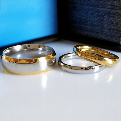 Stainless Steel Gold and Silver Wedding Anniversary Plain Stacking Band Ring Set