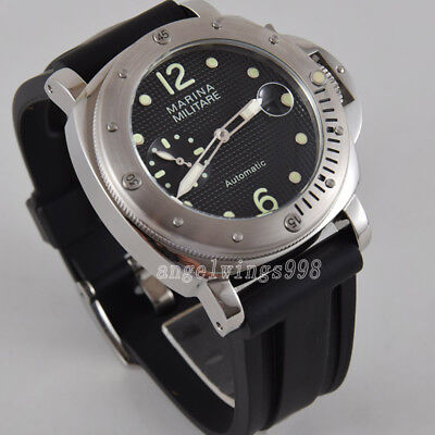parnis 44mm black dial steel Rotate bezel seagull automatic watch green numerals