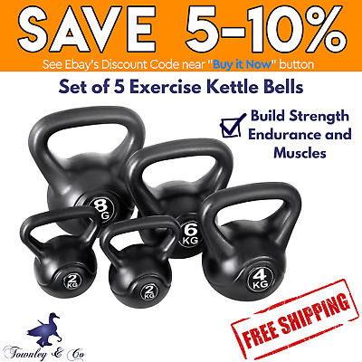5 X Kettle Bell Kit Weight Kettlebell Fitness Exercise Home Gym Everfit 22Kg