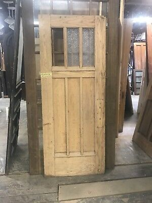 "Vintage Arts And Craft Door. 33.5"" X 83"" Oak 3 Lite Entry Door Pantry Door"