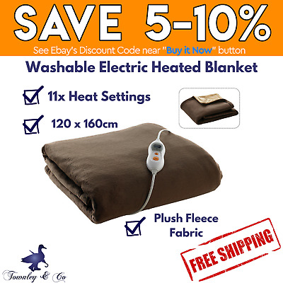Electric Heated Throw Rug Plush Blanket Washable Snuggle Fleece Brown Heller