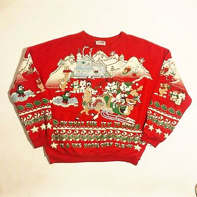 Vintage Nutcracker 1991 Awesome Glitter Ugly Christmas Sweater - L/XL