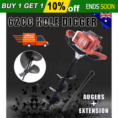 OZ 62cc Post Hole Digger Posthole Earth Auger Fence Borer Petrol Drill Borer Bit