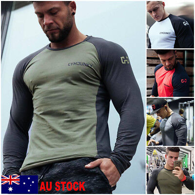 AU Mens Gym Slim Long Sleeve Fitness Muscle Tees Sport T-Shirt BodyBuilding Tops