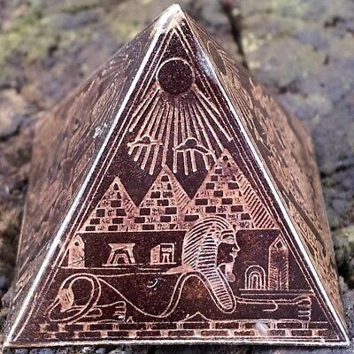 Antique Egyptian Metal Pyramid ~ Etched Brass/Bronze/Copper ~ Ancient King Tut