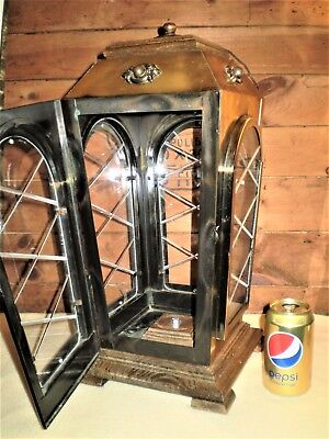 "Large VINTAGE DISPLAY CASE 19"" Brass Glass & Wood w/Door Taxidermy Dolls Props"
