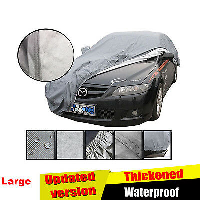 2 Layer Large Size L Heavy Duty Waterproof Car Cover Cotton Lining Scratch Proof