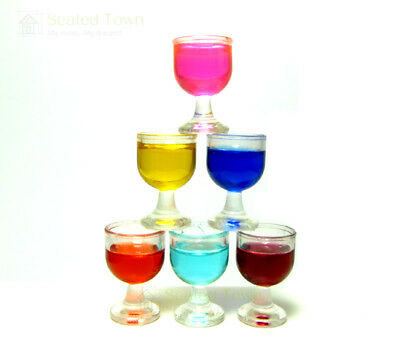 6 Dollhouse Miniature Red Wine Glasses Cup Goblet Bar party Drink Accessory 1:12