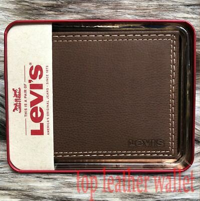 Levi's Men's Slim Thin Bifold with Extra Capacity and ID Window - Brown
