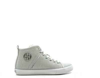 Donna Guess Sneaker Bianca In Tessuto Glitter Argento