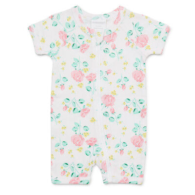 NEW Marquise Short Sleeve Zip Romper Rose Print Size 00