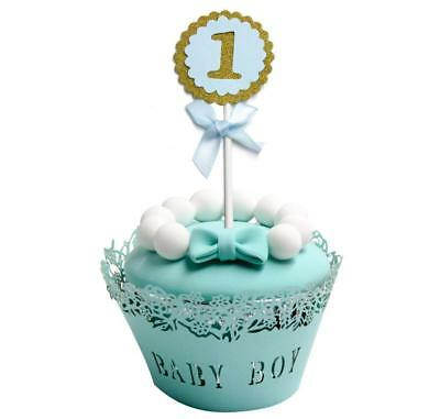 5PCs Baby Boy Girl 1st Birthday Gold Glitter Cupcake Topper With Bow Party Decor