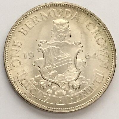 1964 Bermuda Crown Silver Coin UNC LUSTER & LIGHT TONING (L355)