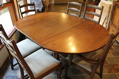 Solid American Oak Dining Table, Chairs & Side Board