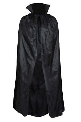 "Black Vampire Cape Dracula 56"" Halloween Fancy Dress Costume Adult Cloak Fangs"