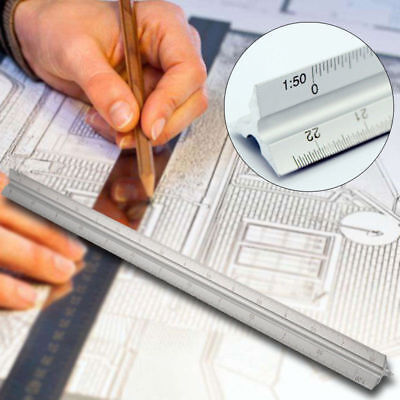 "300mm Triangular Aluminium Tri Scale Metal Ruler Architect Engineers Rule 12"" os"
