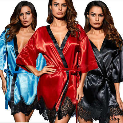 40d82f7a4 Women Satin Lace Silk Underwear Lingerie Nightdress Sleepwear Robe Plus Size