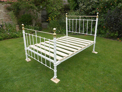 Victorian Cast Iron + Brass Double Bed Beautifully Restored. Antique White