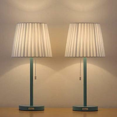 Contemporary Table Lamps Bedside - 2 Set Of With White Fabric Shade, Light Blue