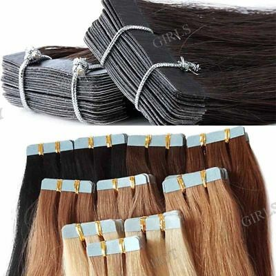 20 BANDES EXTENSION TAPE ADHESIVE CHEVEUX 100% NATURELS INDIAN REMY 40-65cm