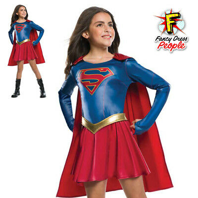 Girls Official Supergirl TV Series Costume Kids Superhero Fancy Dress Outfit